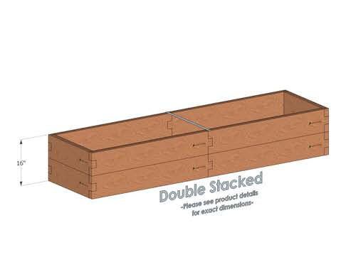2x8 Cedar Raised Garden Bed Double Stacked - With stacked 2x8 Garden Beds we include an aluminum cross strap to keep your garden bed walls perfectly straight.