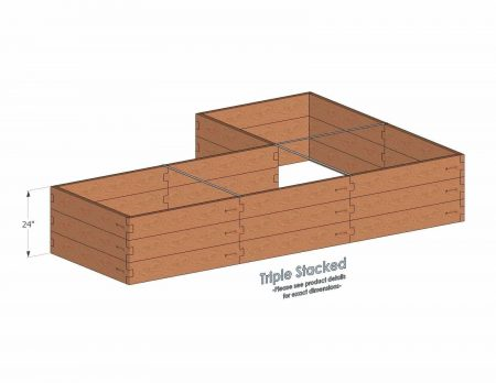 L Shaped Raised Garden Bed Triple Stacked - With stacked L Shaped Garden Beds we include three aluminum cross straps to keep your garden bed walls perfectly straight.