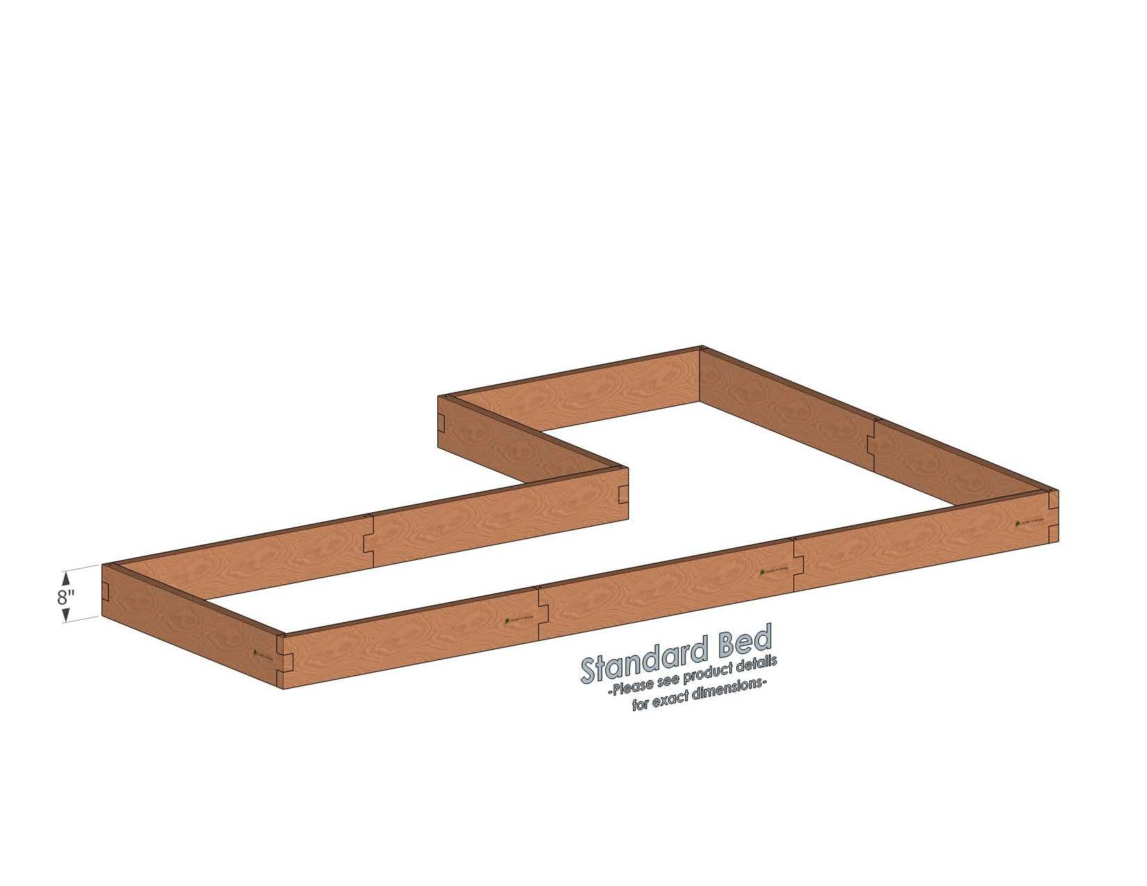 4x12 L Shaped Raised Garden Bed Standard Height