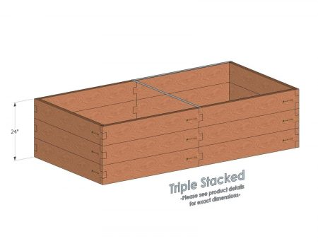 4x8 Cedar Raised Garden Bed Triple Stacked - With stacked 4x8 Garden Beds we include an aluminum cross strap to keep your garden bed walls perfectly straight.