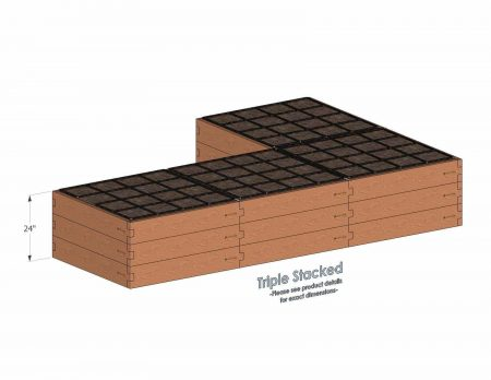 L Shaped Raised Garden Kit Triple Stacked - With stacked L Shaped Garden Kits we include three aluminum cross straps to keep your garden bed walls perfectly straight.
