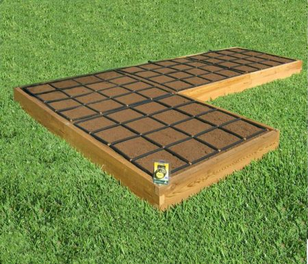 All-in-one, L Shaped Raised Garden Kit with Garden Grid watering systems.
