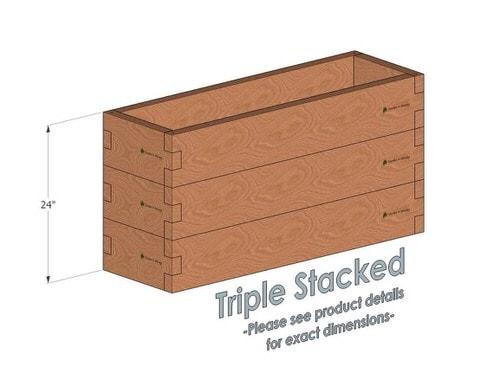 1x4 Cedar Raised Garden Bed Triple Stacked
