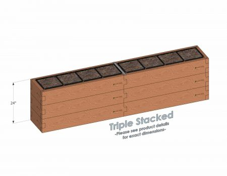 1x8 Raised Garden Kit Triple Stacked - Stacked 1x8 Garden Beds include an aluminum cross strap to keep your garden bed walls perfectly straight.