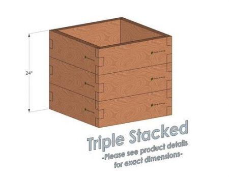 2x2 Cedar Raised Garden Bed Triple Stacked
