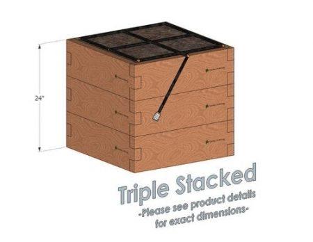 2x2 Cedar Raised Garden Kit Triple Stacked