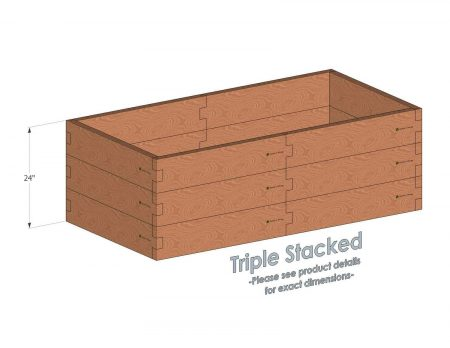 3x6 Cedar Raised Garden Bed Triple Stacked - Stacked 3x6 Garden Beds include an aluminum cross strap to keep your garden bed walls perfectly straight.