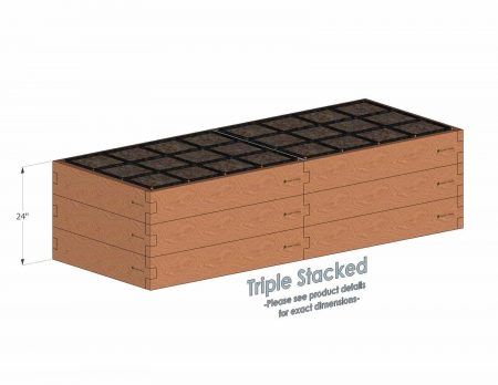 3x8 Raised Garden Kit Triple Stacked - Stacked 3x8 Garden Beds include an aluminum cross strap to keep your garden bed walls perfectly straight.