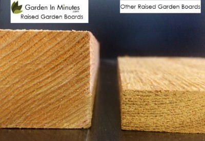 Our cedar garden bed boards are more than 2X the thickness of common big box brands.